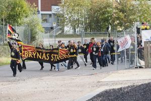 Supportrarna från Stockholm hade sin plats i tåget.