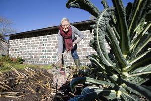På gården odlas det råvaror som används i matlagningen och i gårdsbutiken. Här gräver Ulrike Steiner fram lite potatis.