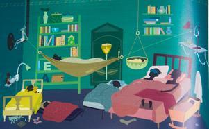 Ett väldigt fullt sovrum från