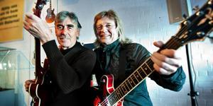 Janne Schaffer och Lasse Åberg har i år varit vänner och jobbat ihop i 55 år. Foto: Kjell Jansson