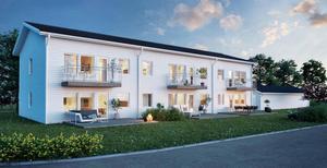 Håppfullt boende byggde nyligen ett hus i Avesta som är i det närmste identiskt med de planerade i Norberg. En av lägenheterna kommer att användas i  visningssyfte. Illustration: Håppfullt boende