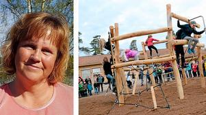 2015 fick eleverna i Rönneshytta den här nya klätterställningen på skolan. Nu hotas skolan av nedläggning. FOTO: Veronica Svensson