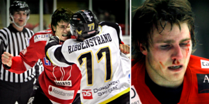 Emil Axelsson under och efter ett slagsmål i hans första säsong tillbaka med Örebro.