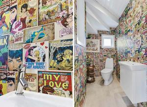 Pålängsgården har en toalett som sticker ut med gamla serietidningar på väggarna.