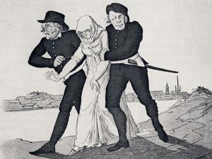 En flicka förs till spinnhuset (kvinnofängelset). Illustration av P. Nordquist från 1800.