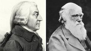 Johna Smith (till vänster) brukar kallas liberalismens fader. Charles Darwin konstaterade att konkurrens mellan individer styr arternas utveckling.