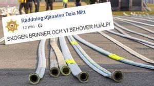 Räddningstjänsten Dala Mitt vädjar om hjälp från frivilliga som kan hjälpa till med bland annat slangtvätt på flera platser i Dalarna. Foto: Skärmdump och Pia Nyström