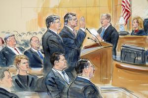 Rättegångsteckning som illustrerar hur Paul Manafort erkänner sig skyldig till två åtalspunkter mot att resten stryks. Han lovade också fullständigt samarbete med specialåklagaren. Teckning Dana Verkouteren via AP