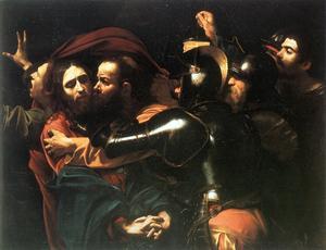 Judas förråder Jesus med en kyss. Målning av Michelangelo Merisi da Caravaggio från 1602.