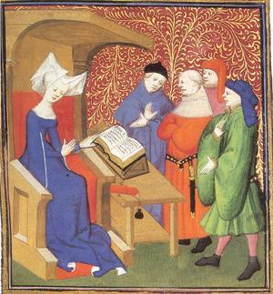 Christine de Pizan omgiven av män suktande efter hennes klokskap. Illustration i ett kompendium om hennes verk från 1413.