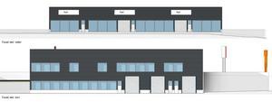 Skisser på hur den nya bilhallen och affärshuset ska se ut. Den totala ytan ligger på 2 800 kvadratmeter.