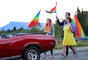 Jenny Hansen och Torbjörn Hedmark, närmast, med Sonfjället i bakgrunden när Prideparaden går ner mot Folkparken