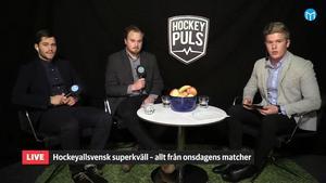 Oskar Lund, Jon Häggqvist och Adam Johansson under Hockeypuls tidigare superkväll.
