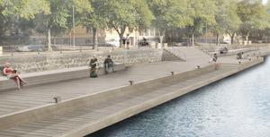 En lång brygga ska anläggas längs Norra Strandgatan. Illustration: Karavan Landskapsarkitekter