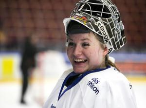Julia Åberg i Leksandströjan när det senast begav sig.