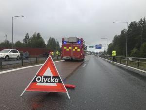 Mc-olyckan inträffade några hundra meter norr om den norra påfarten från Söderhamn.