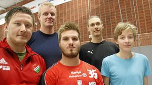 Några av nyförvärven i Sala HF, från vänster: Mathias Hedlund, Thomas Kjellin, Jacob Bäckström, Anton Sörman och Albin Röman.