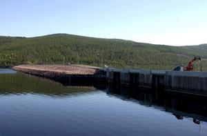 Trängsletdammen är en stenfyllningsdamm. Den innehåller 880 miljoner kubikmeter.