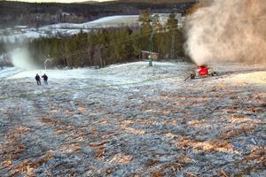 Än är stora delar av Hedebacken snöfri.