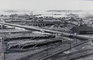 1920-talet. Skogsbolagen använde Alderholmen som upplag för timmer. Foto: Länsmuseet