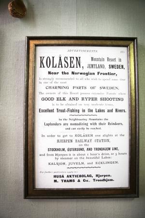 Så här kunde det se ut när det annonserades om Kolåsen i brittisk press tidigt 1900-tal.