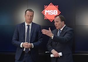 Inrikesminister Anders Ygeman (S) och statsminister Stefan Löfven (S) besöker Myndigheten för samhällsskydd och beredskap, MSB,  20 mars.