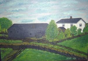 SOLDATTORP. En oljemålning av Munters soldattorp Skärpa i Mörtebo, som en bekant till Roland Palmqvist hittade på vinden.