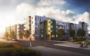 Nyproduktionen på Gävle strand ligger i läge mellan havet och staden.
