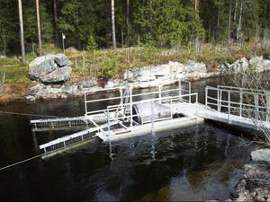 Den roterande fiskfällan, smoltfällan, som ska användas i första skedet.