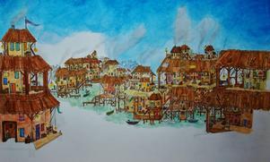 Inspirerad av Tolkien och hans Sagan om Ringen har Nathalie skrivit en egen fantasybok. Här är en av Natalies illustrationer i hennes bokprojekt.