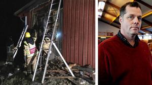 Räddningstjänsten arbetade i natt med att bekämpa branden på Ulf Sahlins gård.