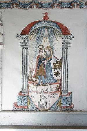 Det var Rättviksmålaren Lisserkers Olof Olsson, som levde mellan 1803 och 1874, som står bakom denna vackra väggmålning. Det finns inget årtal utsatt när målningen är utförd, men troligast är att han målade i Unnesgården någon gång på 1830-talet.