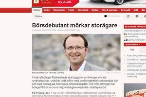 En skärmdump av artikeln i Dagens Industri, som går hårt åt Rabbalshede och dess vd, Thomas Linnard.