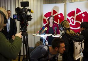 Socialdemokraternas partisekreterare Carin Jämtin vid lördagens pressträff på Socialdemokraternas partihögkvarter i Stockholm.