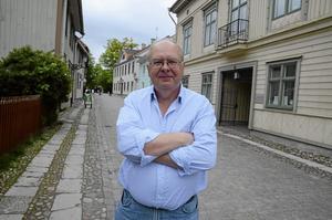 Vid Behrns hus. Bo Fransson har gjort en film om var husen i Wadköping fanns innan de kom till Lars Bohms udde.