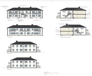 Flerbostadshuset på Wallafastigheten ska byggas i en herrgårdsliknande stil med vitputsade fasader. Fasadritning/skiss: PE Teknik & Arkitektur/Tom Sakofall