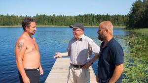 Badgästen Calle Bouvin tillsammans med Leif Lindstedt och Henrik Seidel.