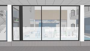 …och tema Scheele finns även som insynsskydd till lekbassängen. Illustration: Liljewall arkitekter