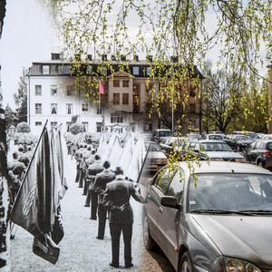 Då och nu. I13:s 50-årsjubileum på regementet i Falun år 1957.