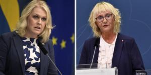 Socialminister Lena Hallengren (S) och civilminister Lena Micko (S).