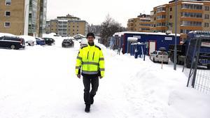 Glenn Mattson vid byggarbetsplatsen på Bryggargatan.