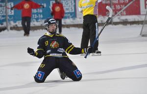 David Jansson och Falu BS hade all anledning att jubla efter segern mot Nässjö. Nu sitter Falun i en drömsits inför de två sista omgångarna av kvalet. Arkivbild.
