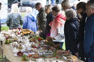 Samtliga svampar på bordet hade Anita Östlund plockat under fyra dagar, vilket imponerade på flera av besökarna.