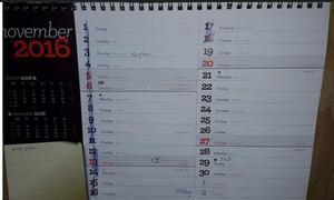 När almanackan hittades var december månad uppslagen. Datumen har kryssats över fram till 18 november, två dagar innan Therese tros ha dött. Bild: Polisens förundersökning