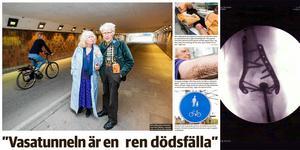 NA skrev flera gånger om den farliga Vasatunneln. Bilden är från den 2 maj 2019 med Bitte Alling-Ode. Röntgenbilden visar hur en av Bittes brutna armar skruvat ihop.