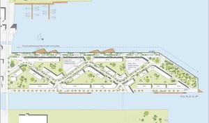 Den senaste skissen över hur bebyggelsen på Hucken kan komma att se ut. Illustration: Gävle kommun