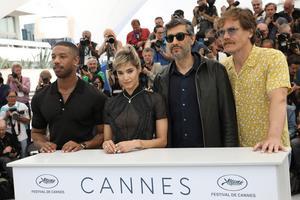 Regissören Ramin Bahrani (näst till höger) tillsammans med skådespelarna  Michael B. Jordan,  Sofia Boutella och Michael Shannon. Foto: Vianney Le Caer/Invision/AP