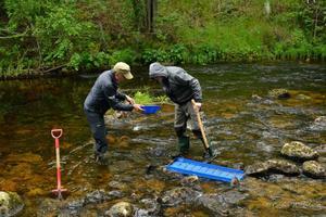 Magnus Ullberg och Robert Johansson tog hjälp av både ränna och panna för att hitta de eftertraktade guldkornen.