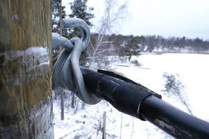 En sträcka på Håtö där 200-300 meter elkabel låg på backen, är nu lagad. Nya stolpar är på plats och kabeln är ordentligt förankrad. Bilden visar en elkabel som snart ska klamras fast.