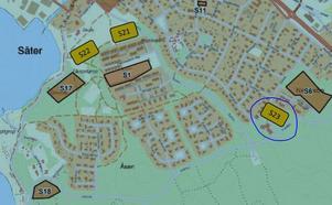 Det inringade området nummer 23 kallas Aktören och är den tomt som Ekstammen bostäder är intresserat av att bygga på. De andra markerade områdena är sådana som kommunen anser att man kan bygga på i framtiden.